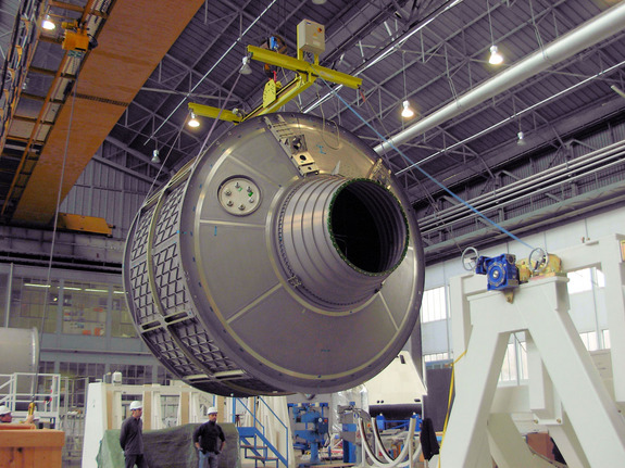 Pressurised module of the ATV Albert Einstein being manufactured in December 2010 in Turin by Thales Alenia.