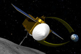 An artist's interpretation of NASA's asteroid-sample mission OSIRIS-REx, which will rendezvous with the near-Earth asteroid designated 1999 RQ36 in 2020. The mission is expected to launch in 2016.