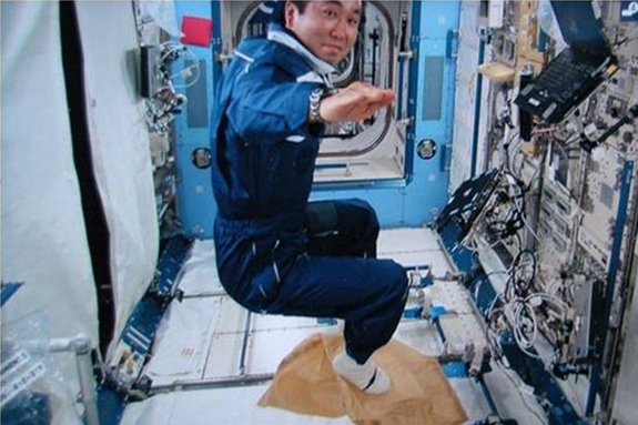 "Astronaut Koichi Wakata conducts the ""Magic Carpet"" activity as part of a session of Try Zero-G experiment on the International Space Station."