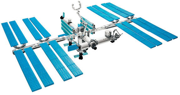 LEGO's version of the International Space Station built by astronauts living aboard the real orbiting complex.