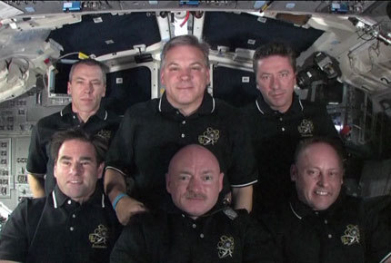 The six-man crew of space shuttle Endeavour discusses the last flight of the shuttle with reporters for one last time on May 29, 2011 before returning to Earth.