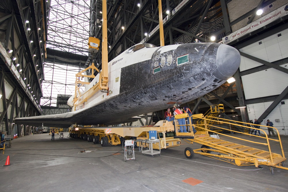 Atlantis Lifted from Its Transporter