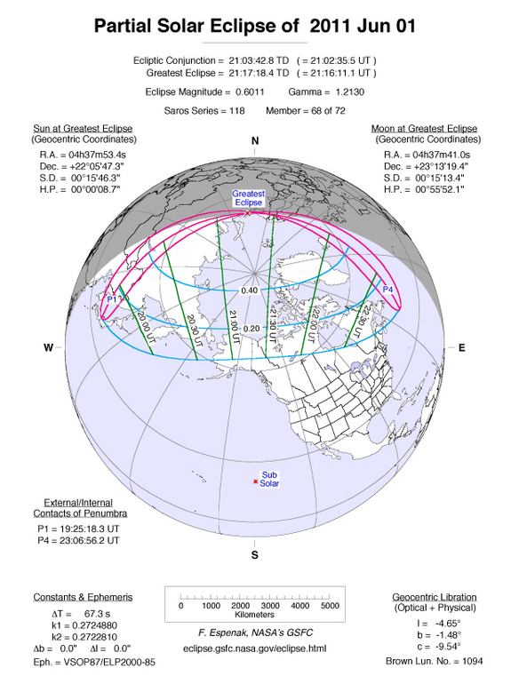 ok This NASA graphic shows the track of the June 1-2 partial solar eclipse, which will begin on June 2 and end on June 1 due to a fluke of its path across the International Date Line.
