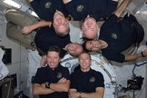 The six member crew for space shuttle Endeavour's final mission poses for an STS-134 in-flight crew portrait in the Japan Aerospace Exploration Agency's Kibo lab on the International Space Station on May 26, 2011.