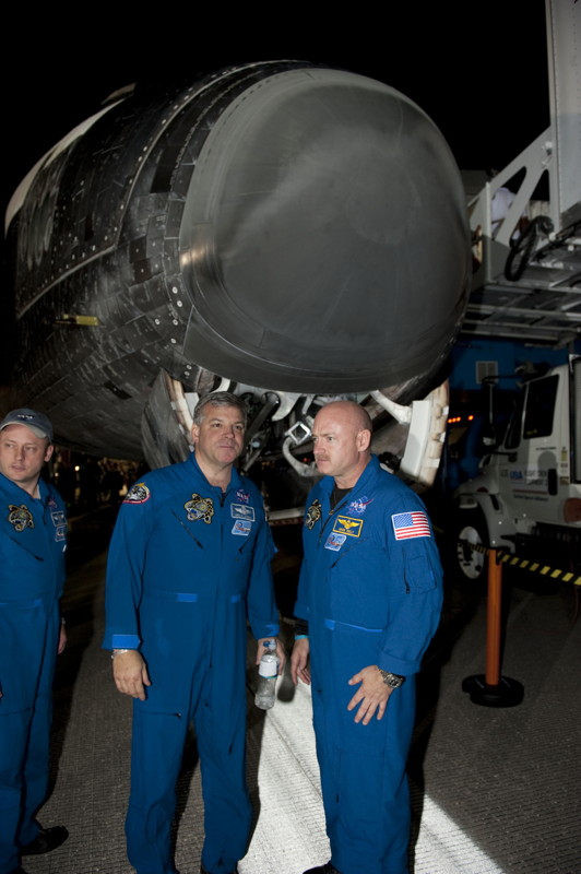 Endeavour Crew in Front of the Ship's Nose