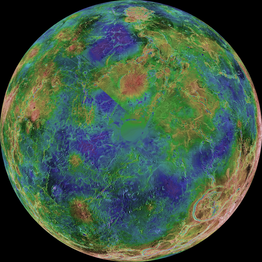 View of Venus's South Pole