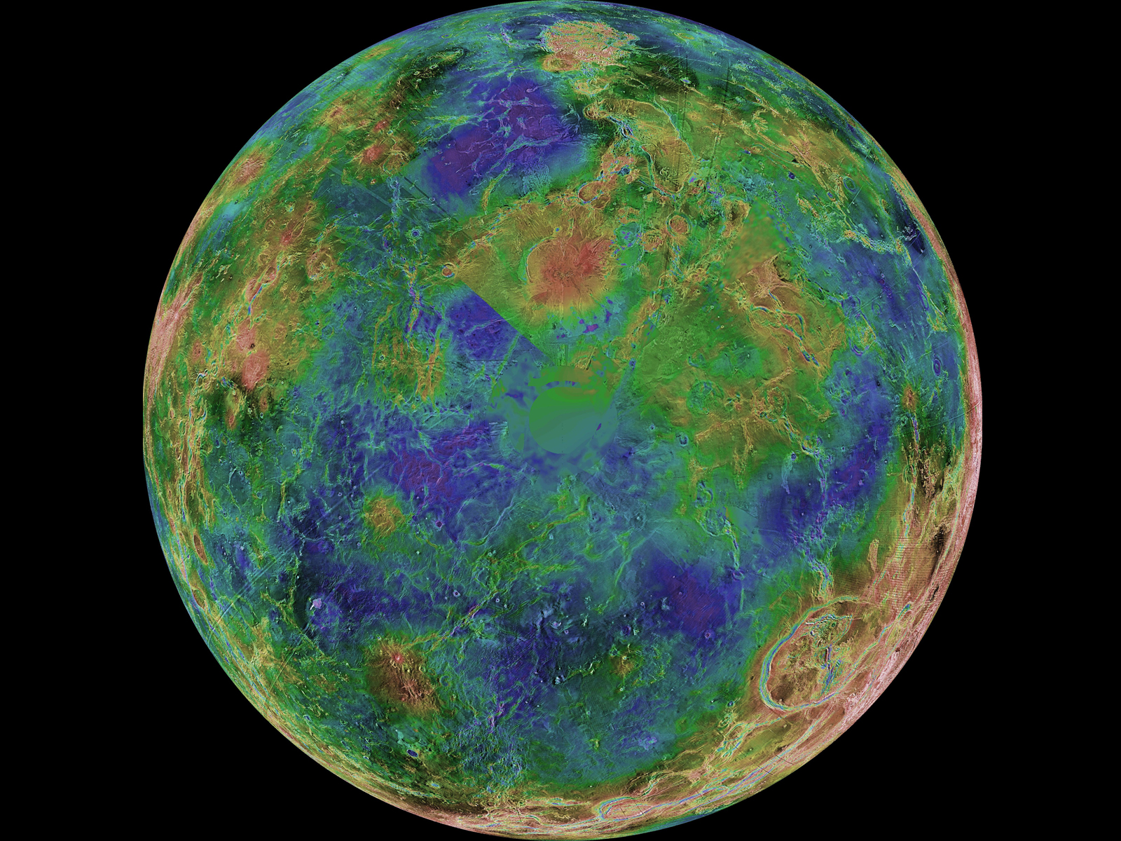 The hemispheric view of Venus, as revealed by more than a decade of radar investigations culminating in the 1990-1994 Magellan mission, is centered on the South Pole.