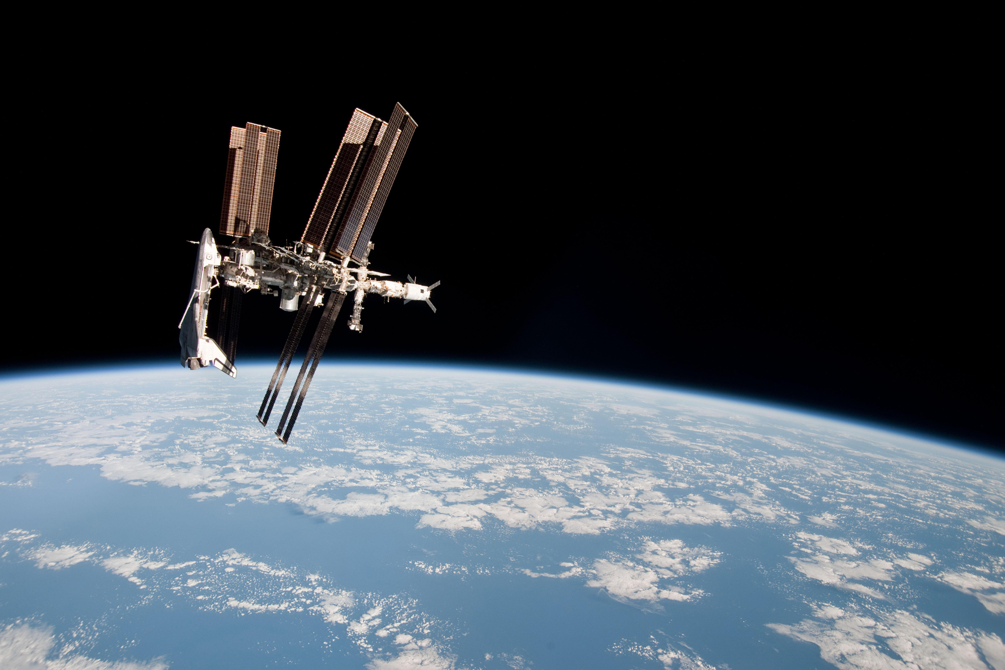 Side View of Endeavour at Space Station
