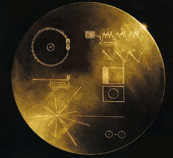 NASA's twin Voyager spacecraft launched in August and September 1977. Aboard each spacecraft is a golden record, a collection of sights, sounds and greetings from Earth. There are 117 images and greetings in 54 languages, with a variety of natural and human-made sounds like storms, volcanoes, rocket launches, airplanes and animals.