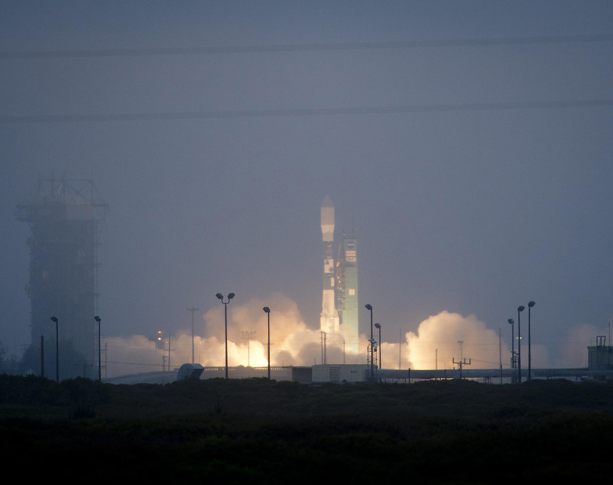 A Delta 2 rocket launches with the Aquarius/SAC-D spacecraft payload from Space Launch Complex 2 at Vandenberg Air Force Base, Calif. on June 10, 2011. The joint U.S./Argentinian Aquarius/SAC-D mission will map the salinity at the ocean surface to improve