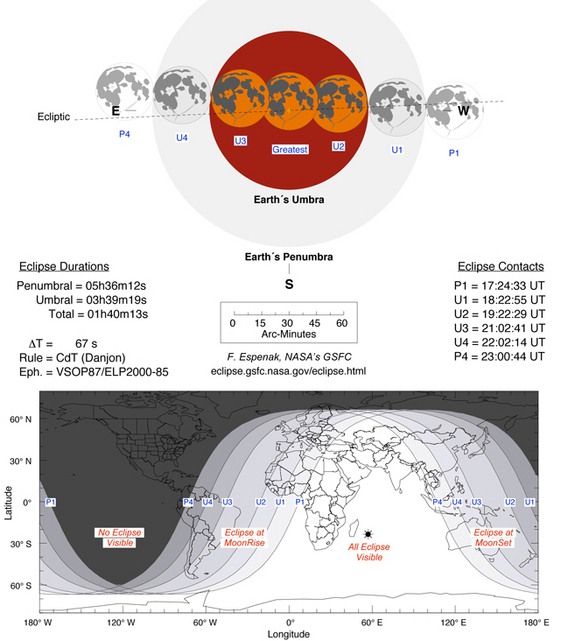 This NASA chart lists the start, peak and end times for the June 15, 2011 total lunar eclipse as well as likely visibility regions of the world.