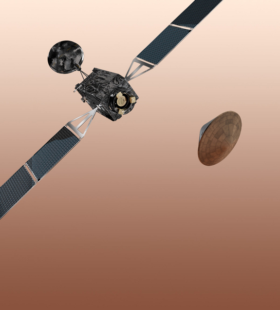Artist's concept of the ExoMars 2016 spacecraft, which consists of the Trace Gas Orbiter and the Entry, descent and landing Demonstrator Module (EDM).