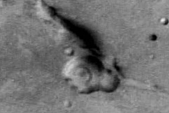 Photo taken of the Gandhi face geologic feature by the Mars Express Orbiter.