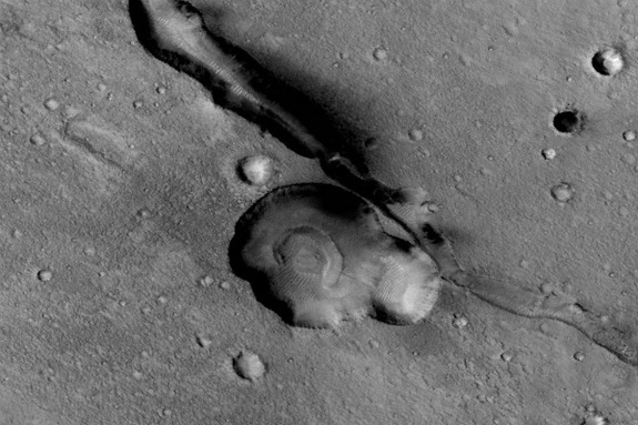 Photo taken of the Gandhi face geologic feature by the Mars Reconnaissance Orbiter.