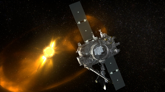 Artist's concept of the STEREO spacecraft observing a coronal mass ejection. When there's no CME to be found, STEREO still gathers images of the background stars.