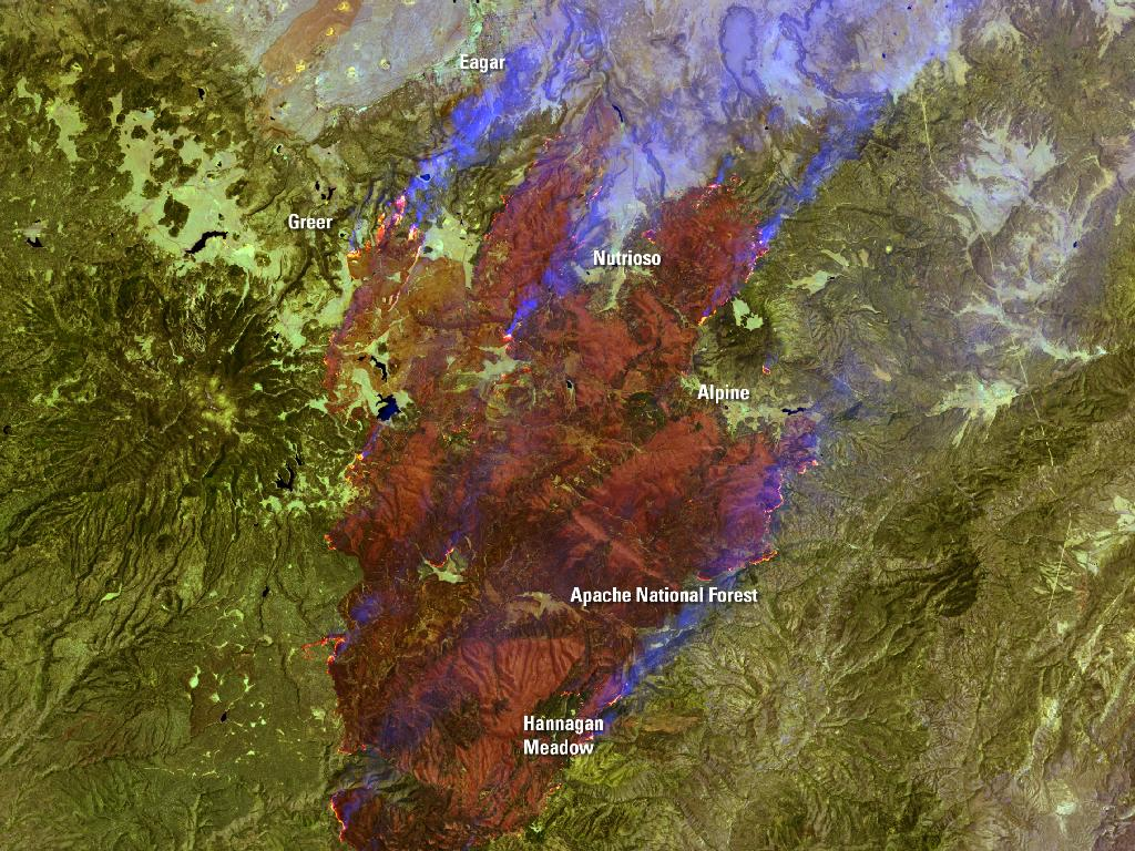 Landsat 7 Sees Smoke from Raging Arizona Wallow Fire