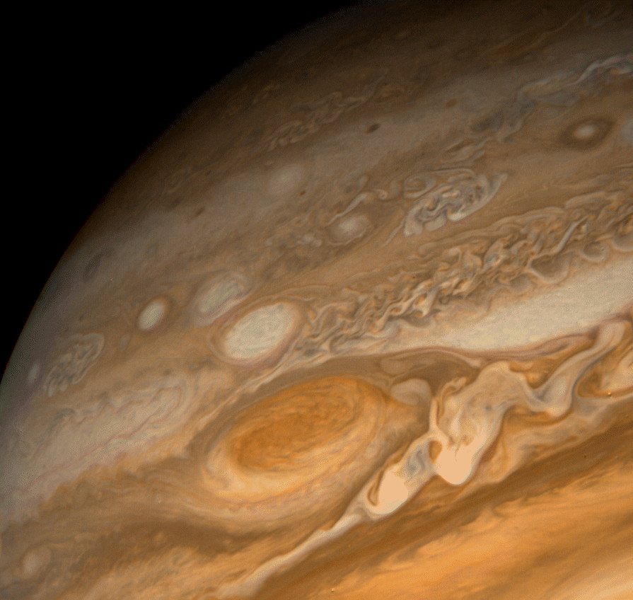Close-up of Jupiter's Great Red Spot as seen by a Voyager spacecraft.