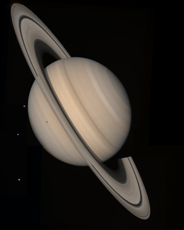 Saturn and Three Moons