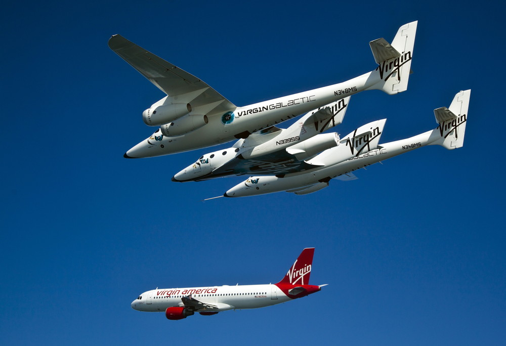 Virgin Galactic's WhiteKnightTwo Carrying SpaceShipTwo Flew Alongside Virgin America's Airbus A320