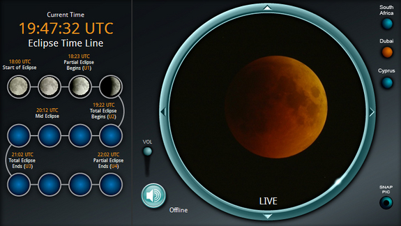 A screenshot of the skywatching website Slooh, which broadcast the June 15, 2011 total lunar eclipse live via the Internet for free in partnership with the Internet company Google.