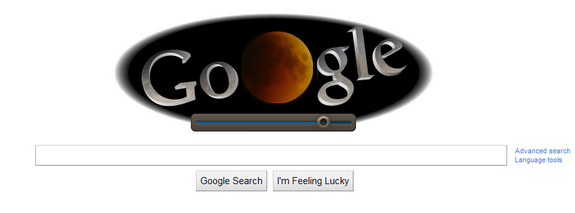A screenshot of the Google homepage on June 15, 2011, which incorporated a live view of the total lunar eclipse into the company's logo doodle.