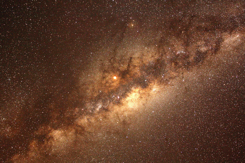 Total Lunar Eclipse and Milky Way Seen from Nambia
