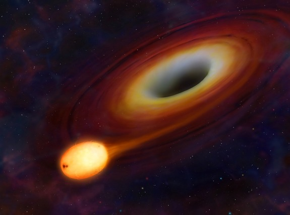 Artist's impression of a star about to be ripped apart by a massive black hole.