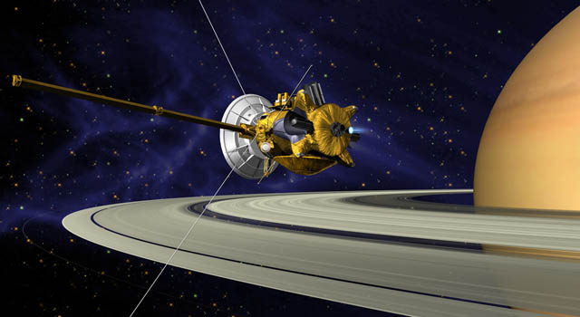 Artist concept of Cassini at Saturn.