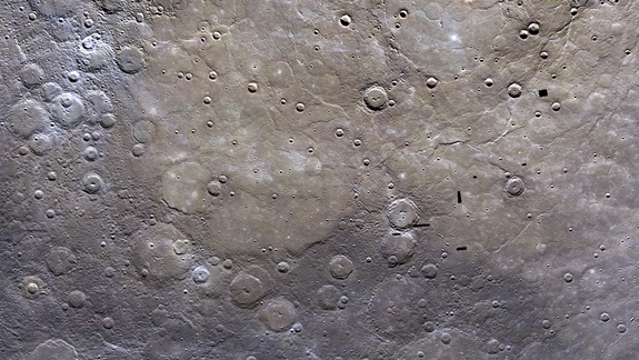 A photo mosaic of Mercury's northern plains, taken from orbit by NASA's Messenger spacecraft.