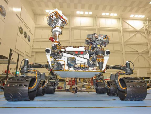 NASA's Curiosity rover is shown here during final testing at the Jet Propulsion Laboratory. It will be shipped to its Florida launch site in late June 2011.