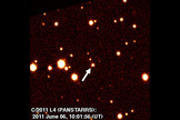 Discovery image of the newfound comet C/2011 L4 (PANSTARRS), taken by Hawaii's Pan-STARRS 1 telescope.