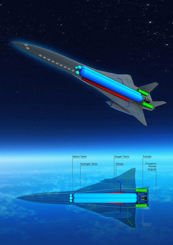 A model of the EADS Zero Emission Hypersonic Transportation, or ZHEST, passenger plane concept is shown at the 2011 Paris Air Show on June 20, 2011.