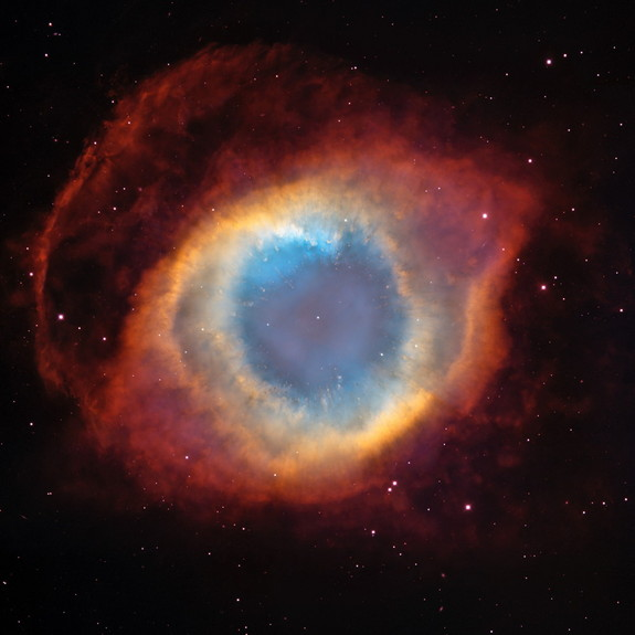 "The Helix Nebula, a planetary nebula in the constellation Aquarius also known as the ""Eye of God."""