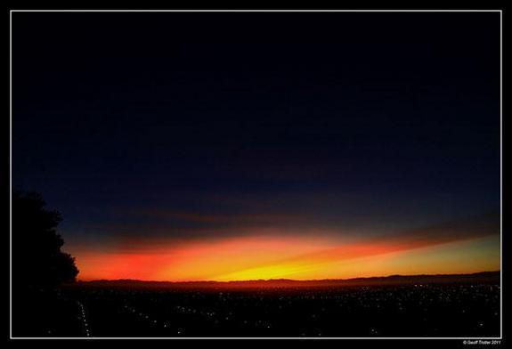 A sunset over Christchurch, New Zealand, on June 14 colored by the ash from the volcano.