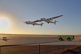 The mothership WhiteKnightTwo soars over Mojave Air and Space Port in California after releasing the private space plane SpaceShipTwo.