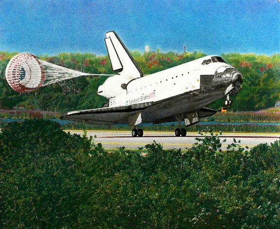 "Atlantis' landing at the end of its STS-132 mission is the focus of Lloyd Behrendt's ""Handoff"" piece. The painting represents the transition from NASA's 30-year space shuttle program to the future of commercial spaceflight."