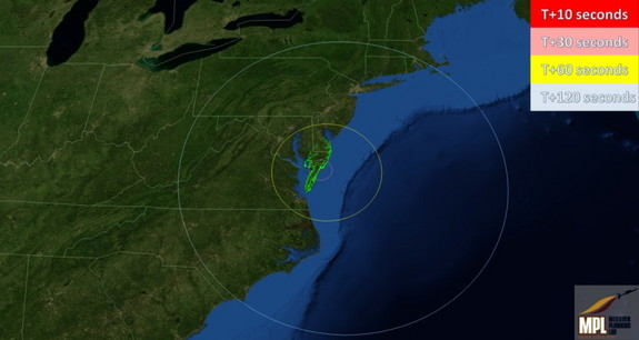 This chart displays areas that have the possibility of seeing the ORS-1 Launch after launch on June 28, 2011.