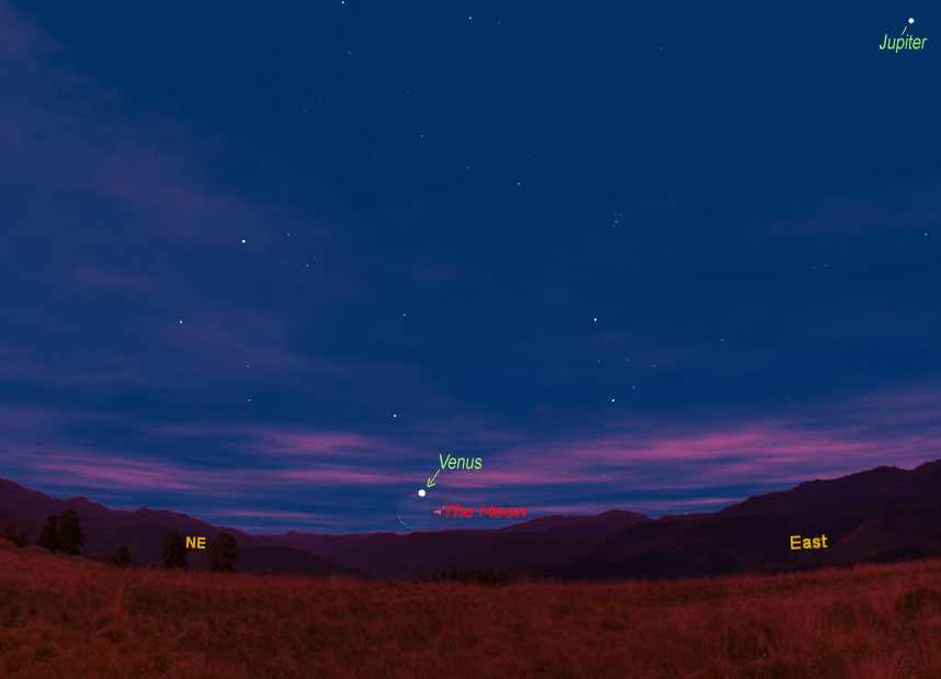 Moon & Venus to Shine Together at Dawn Thursday