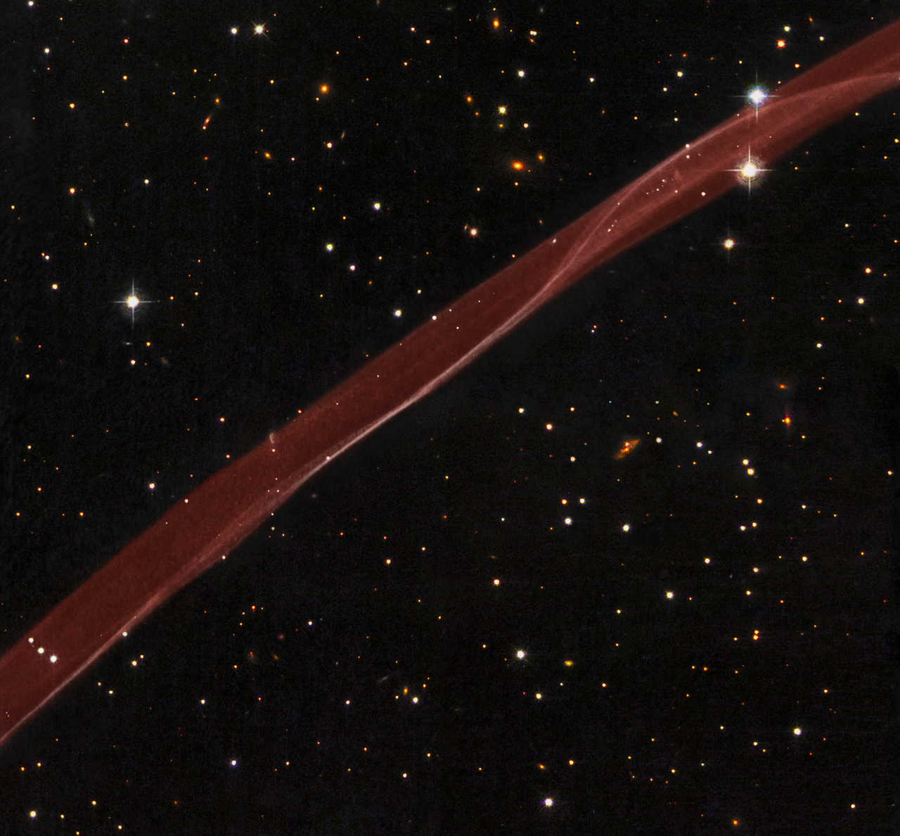 Red Stripe of SN 1006 Supernova Remnant Reminiscent of Fireworks
