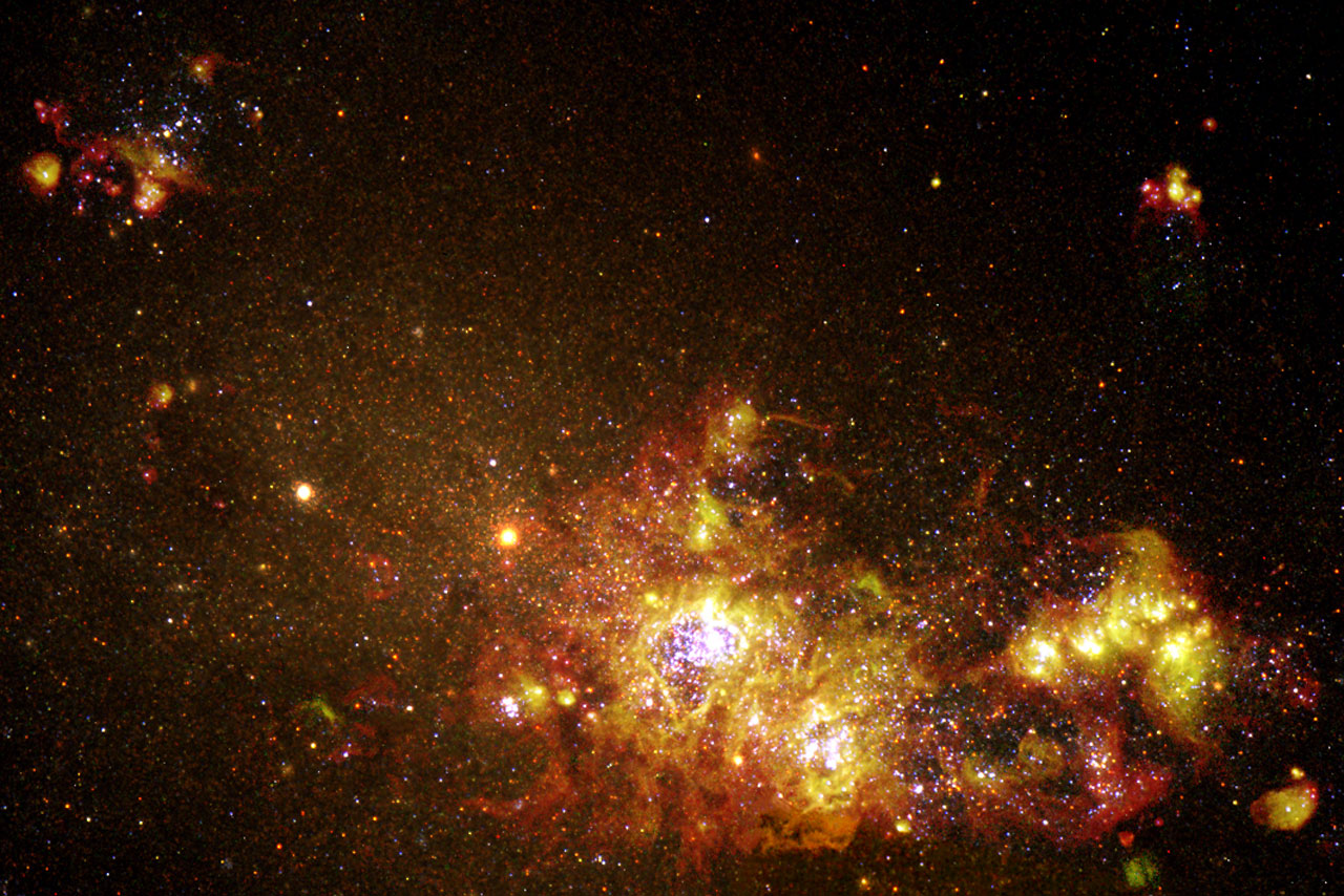Star Formation in Galaxy NGC 4214 Looks Like Fireworks