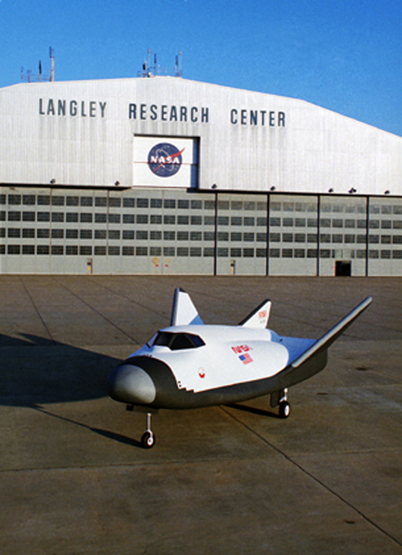 NASA's HL-20 space plane at the agency's Langley Research Center in 1992.