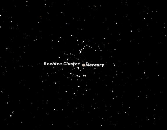 Sky map for Mercury passing through the Beehive cluster of stars on July 6, 2011.stars