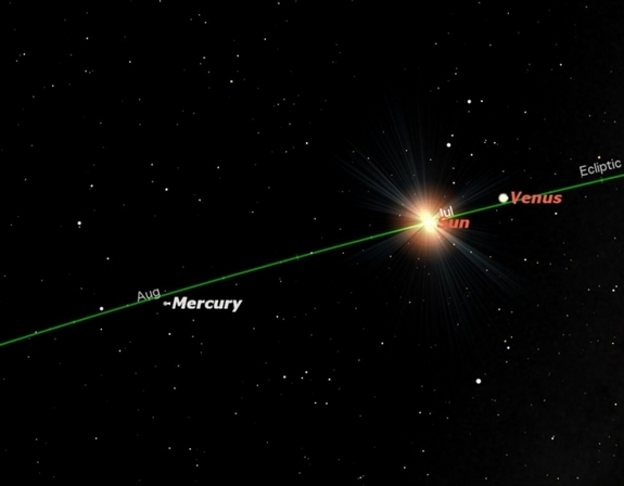 Sky map for planet Mercury on July 20, 2011, when the planet is at its greatest eastern elongation.