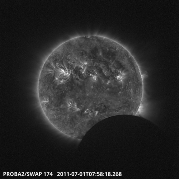 This photo of the partial solar eclipse of July 1, 2011 was snapped by the Proba-2 satellite operated by the European Space Agency as the spacecraft orbited Earth.