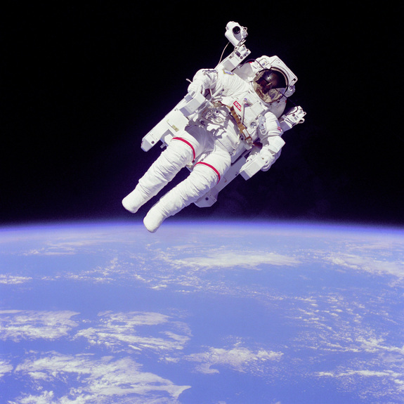 NASA astronaut Bruce McCandless II ventured further away from the confines and safety of his ship than any previous astronaut ever has when he tested the Manned Manned Manuevering Unit or MMU, a nitrogen jet propelled backpack, during a 1984 space shuttle mission.