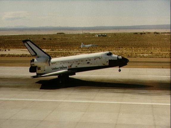 NASA's space shuttle Columbia lands on July 4, 1982 at the end of the STS-4 mission, which touched down at California's Edwards Air Force Base after a seven-day mission.