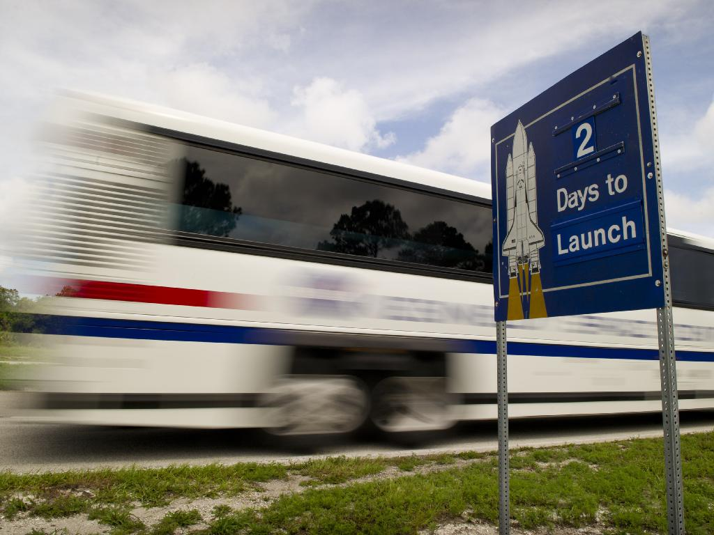 Tour Bus and Launch Countdown Sign