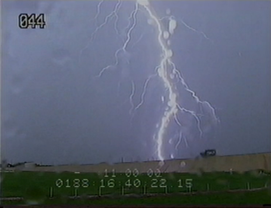 Lightning Strikes Near Shuttle Atlantis on Launch Pad