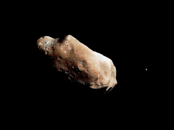 NASA's Galileo spacecraft took this image of asteroid Ida and its moon Dactyl in 1994. The image was the first conclusive evidence that natural satellites of asteroids exist. We still don't know whether Vesta has a moon