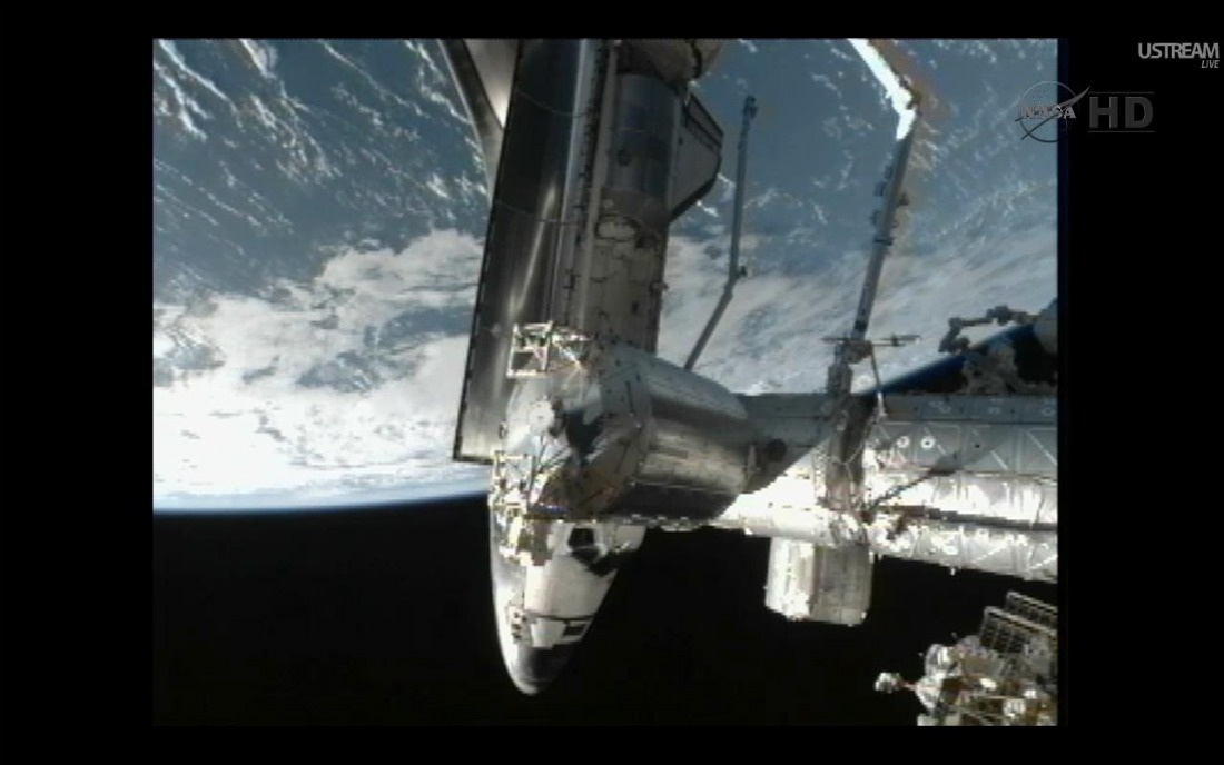 Shuttle Atlantis Docks at Space Station for Last Time